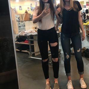 Topshop Jamie black ripped jeans